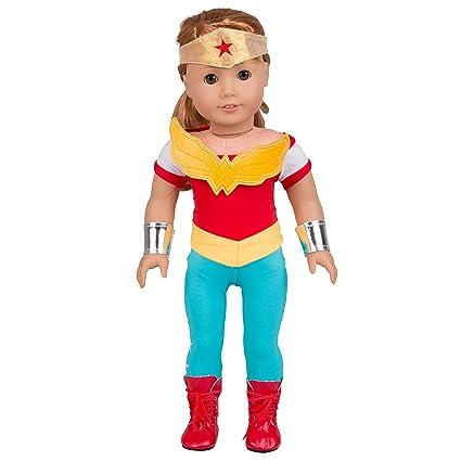 fa23a2783ba30 Amazon.com  Dress Along Dolly Wonder Woman Inspired Doll Outfit ...