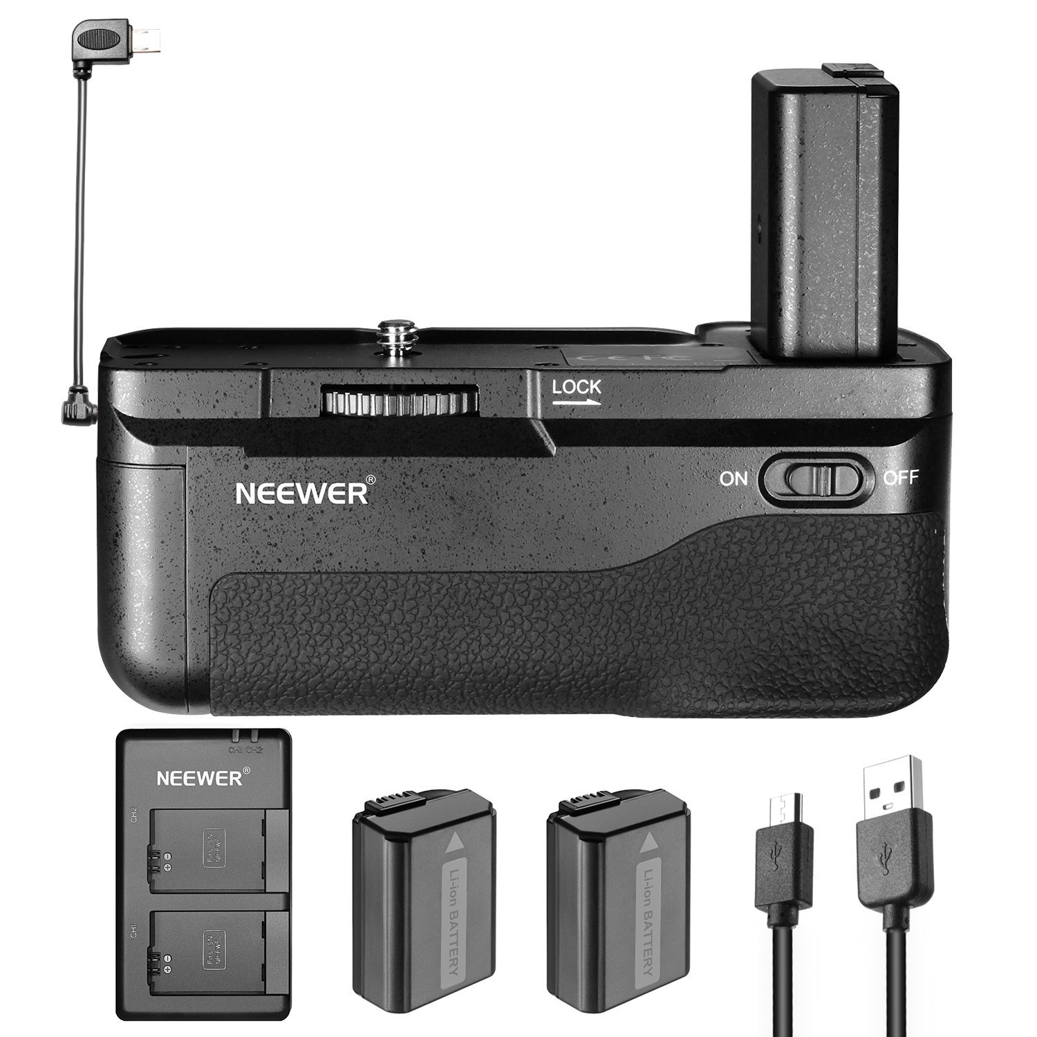 Neewer Vertical Battery Grip with Shutter Release Button for Sony A6300 Camera with 2 Pieces 1100mAh Replacement Li-ion Battery for Sony FW50 and 5V/2.1A USB Input Dual Charger Kit