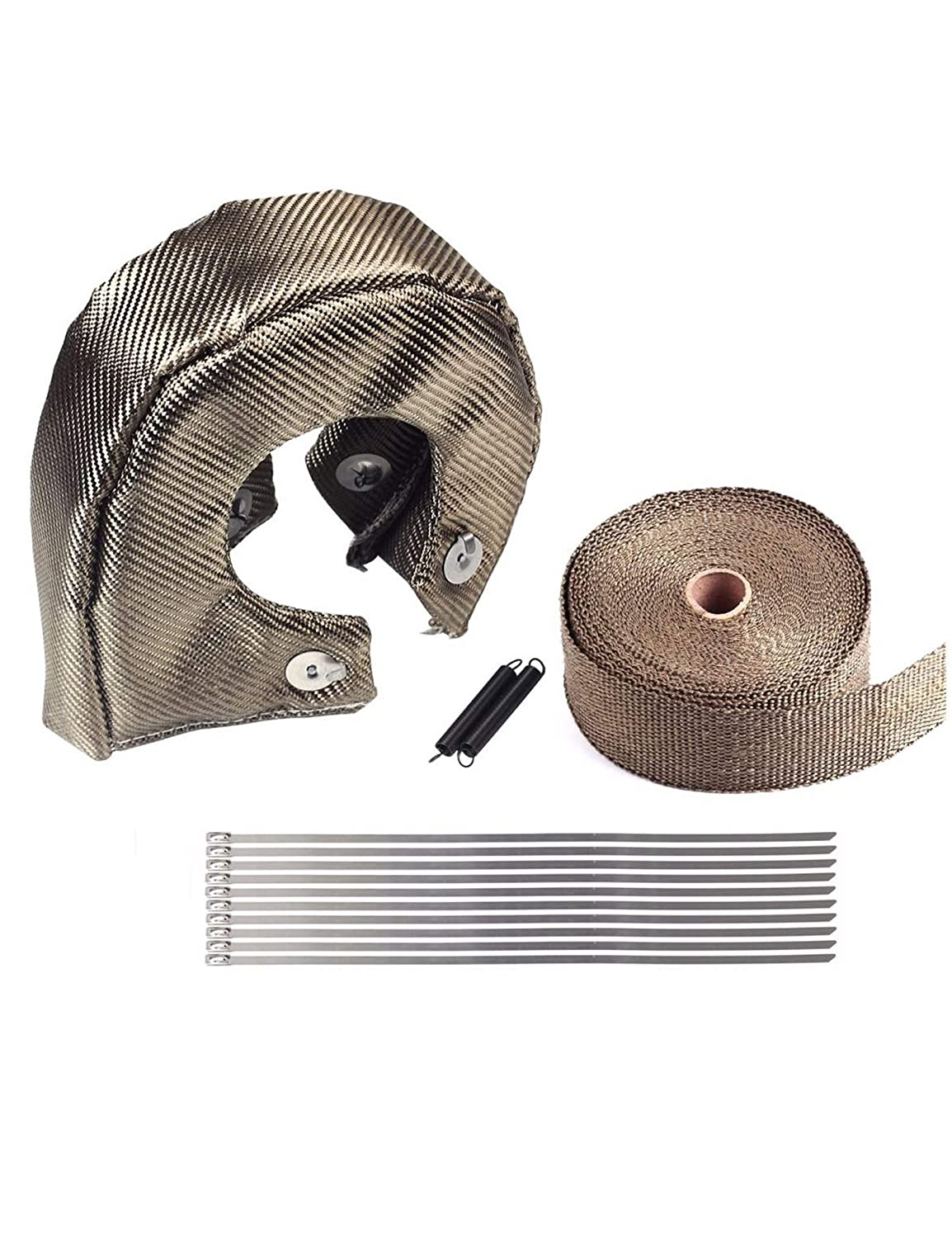 BLACKHORSE-RACING Titanium Turbo Blanket T4 for Turbocharger Thermal Heat Shield Cover Wrap with Fastener Springs 2 50 Wrap Tape Exhaust Header Manifold Heat Pipe
