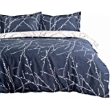Duvet Cover Set with Zipper Closure-Blue/beige Branch Printed Pattern Reversible,Full/Queen (86x96 inches)-3 Pieces (1…