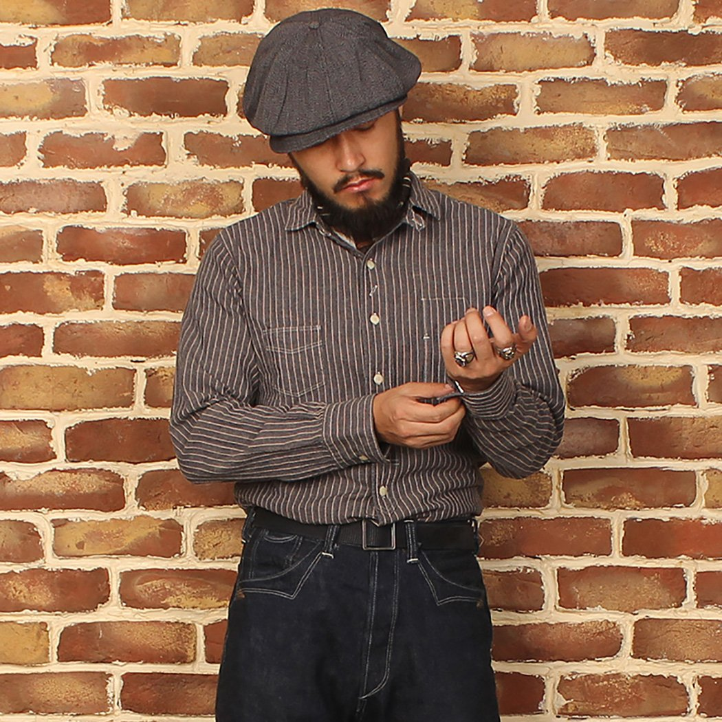 Edwardian Men's Shirts & Sweaters Bronson Mens Striped Herringbone Cotton Long Sleeved Shirt $49.99 AT vintagedancer.com
