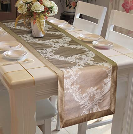 Lushomes Silver Pattern 1 Jacquard Table Runner With Polyester Border (Size: 16X72), Single Piece