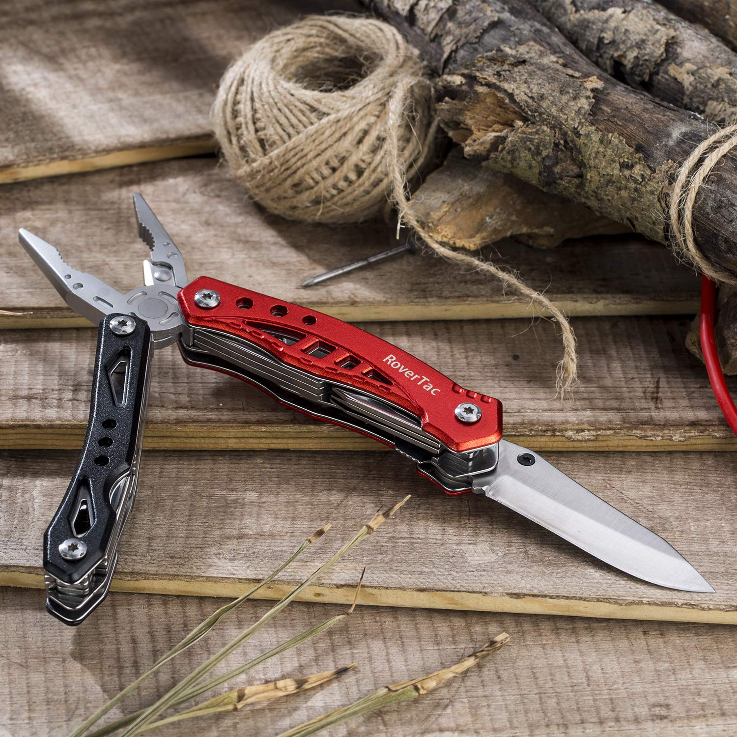 12 in 1 Multi tool Pliers RoverTac Pocket Knife with Durable Nylon Sheath, Multitool with Pliers, Bottle Opener, Screwdriver, Saw-Perfect for Outdoor, Survival, Camping, Fishing, Hiking (red) by RoverTac (Image #6)