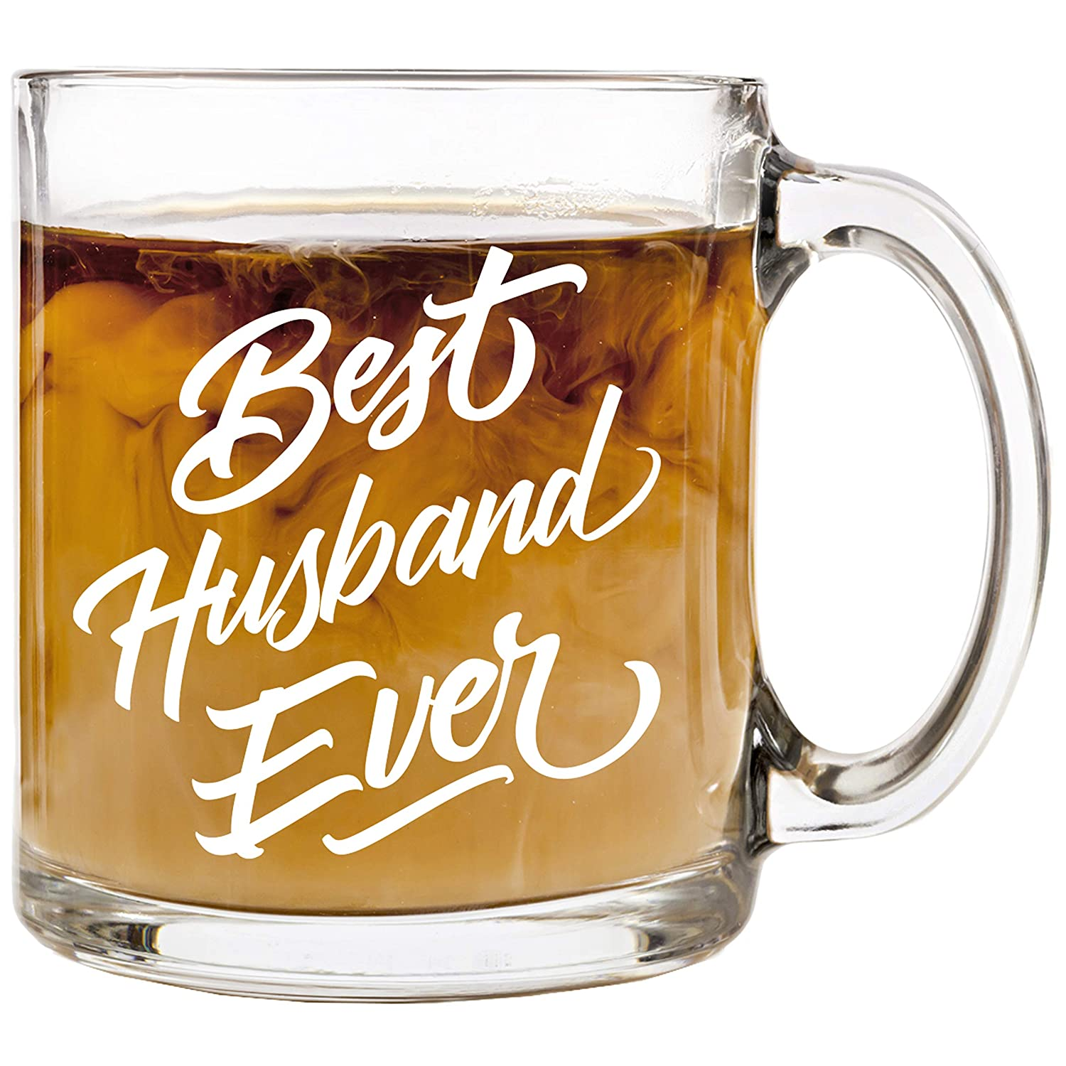 13 oz Glass Coffee Cup Mug Unique Cups Stocking Stuffer Gifts Presents Idea Best Husband Ever Birthday Christmas Valentines Day Anniversary Gift Present Ideas for Husband Groom Him from Wife