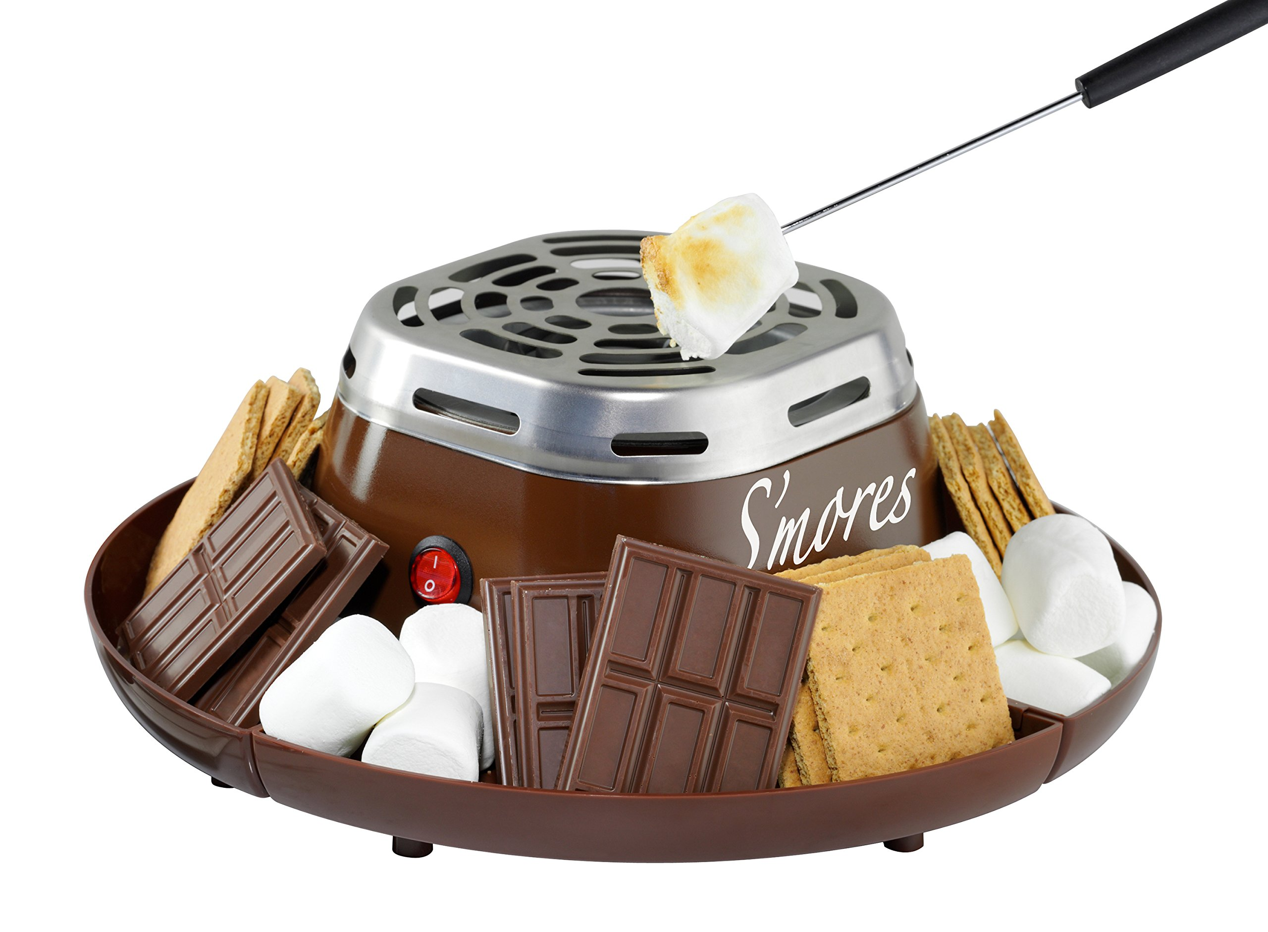 Nostalgia SMM200 Indoor Electric Stainless Steel S'mores Maker with 4 Compartment Trays for Graham Crackers, Chocolate, Marshmallows and 2 Roasting Forks by NOSTALGIA