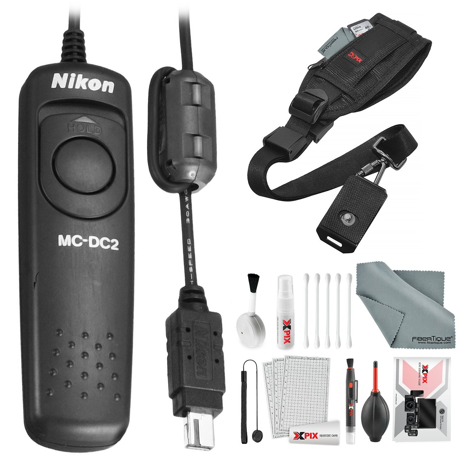 Nikon MC-DC2 Remote Release Cord with Xpix Camera Strap and Deluxe Camera Lens Cleaning Kit by Nikon
