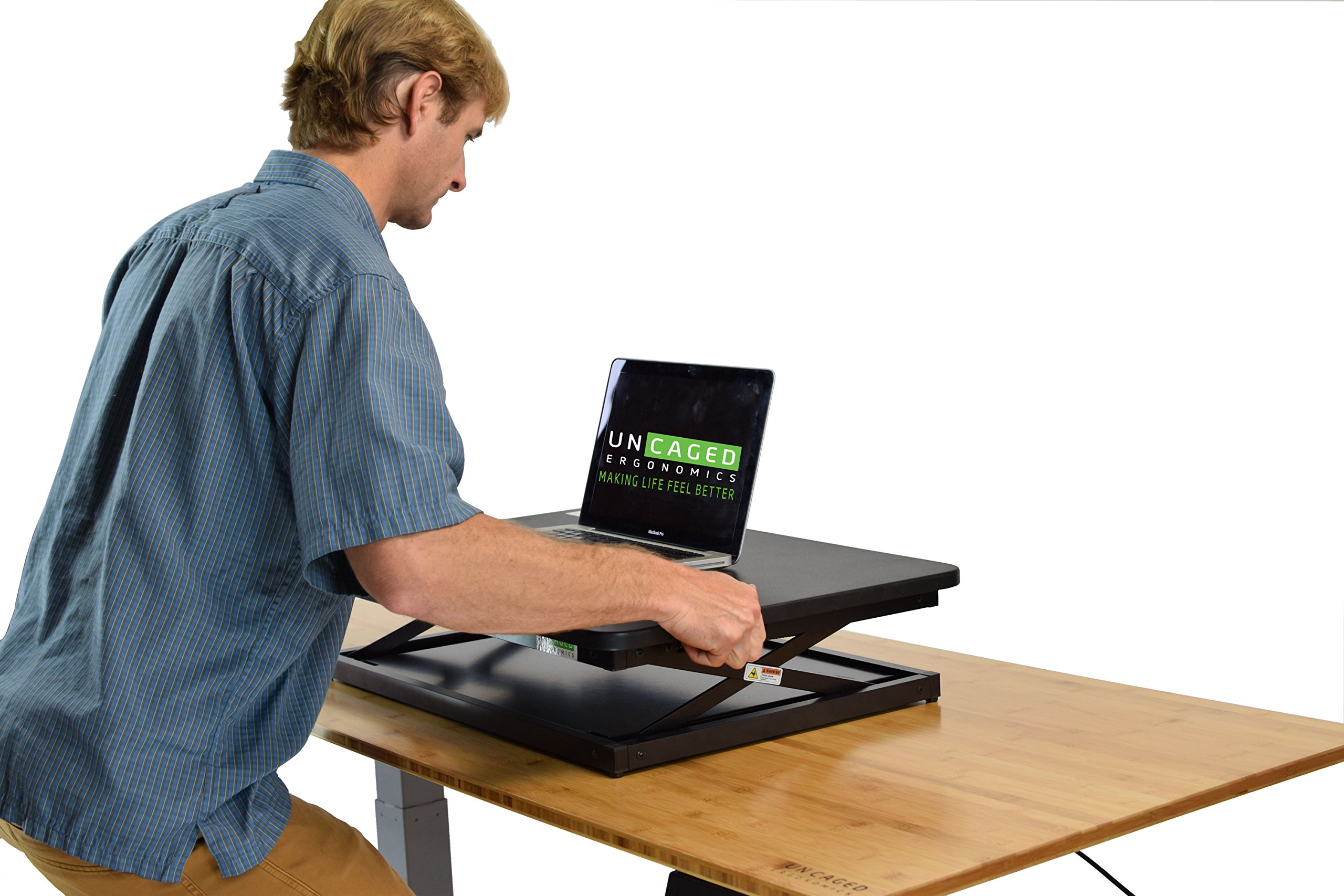 CHANGEdesk Mini Small Adjustable Height Standing Desk Converter for Laptop MacBook Single Monitor Desktop Computer Portable Lightweight Ergonomic sit Stand up Corner Riser Affordable Compact Tabletop by Uncaged Ergonomics (Image #6)