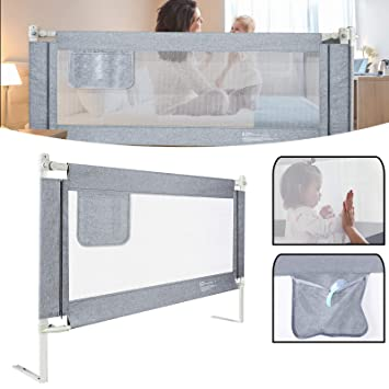 Bettkantenschutz Kinder Bettumrandung Kinderbetten Schutz f/ür Rausfallgitter Kantenschutz Babybett GRAU Minky Grau, 70 cm