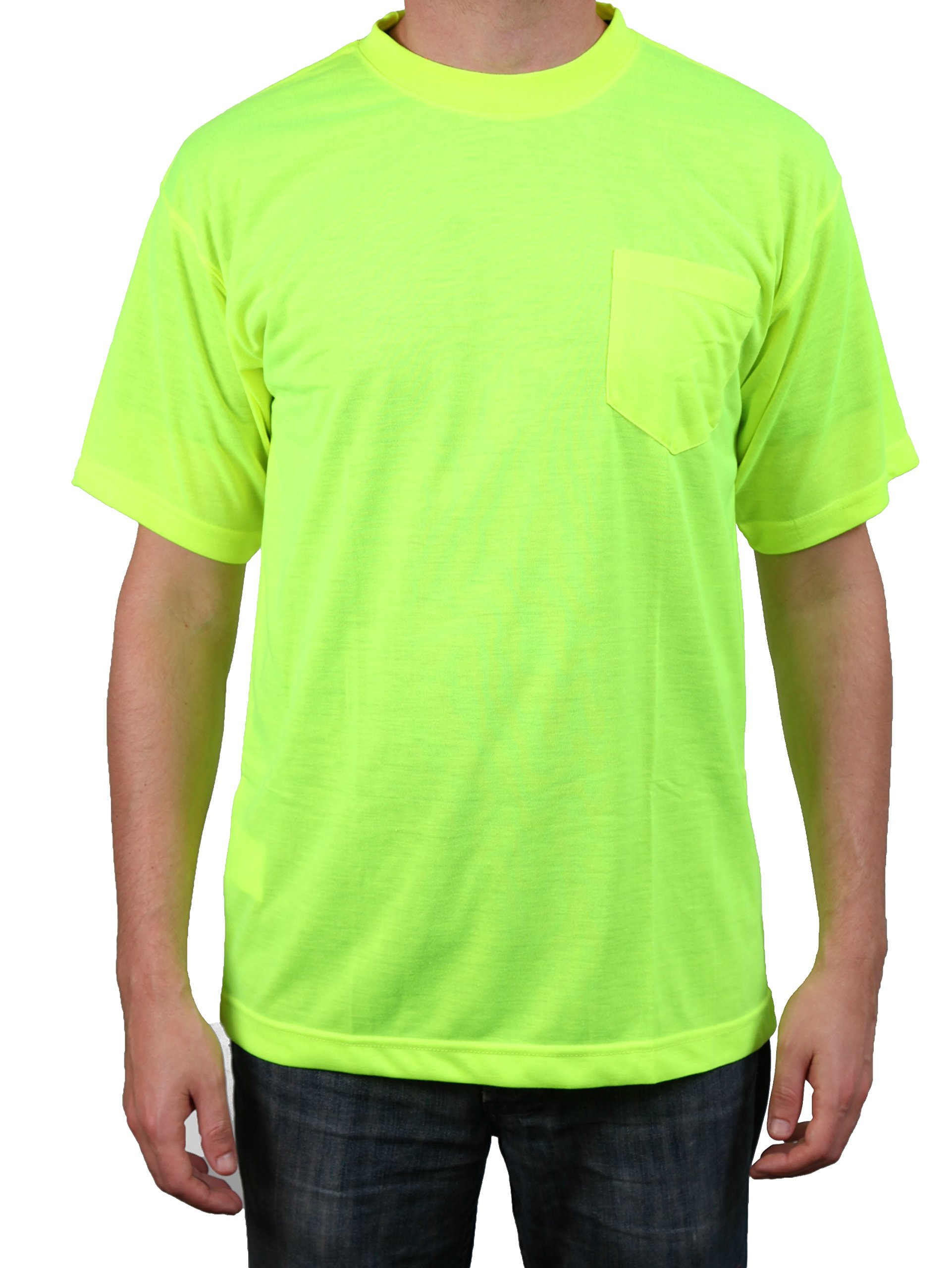 Safety Depot High Visibility Safety Shirt Short Sleeve Moisture Wicking Soft Polyester (Lime, 3XL)