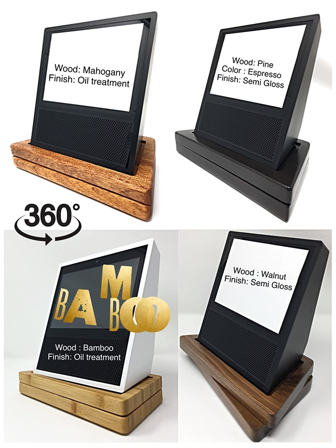 Amazon Echo Show Luxurious Holder, You CUSTOMIZE to your Own Style. Farmhouse,Rustic, Modern, Classy, Real Hardwood, Angle Adjuster & Privacy Cover. Mini Phone Stand,Modified Spin for accurate Turning