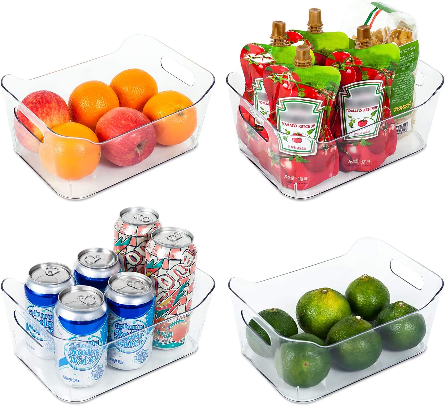 "Vtopmart Refrigerator Organizer Bins 4 Pack - Clear Small Plastic Food Organizer with Handle for Fridge, Freezer, Cabinet, Kitchen Pantry Organization and Storage, BPA Free, 9.5"" Long"