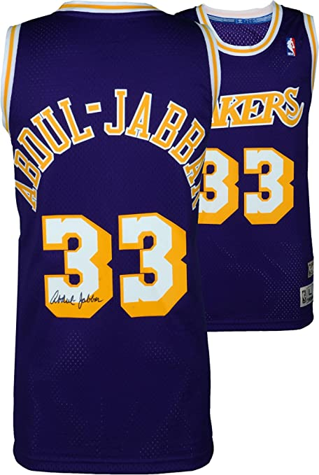 87437b2f0 Kareem Abdul-Jabbar Los Angeles Lakers Autographed Purple Adidas Swingman  Jersey - Fanatics Authentic Certified