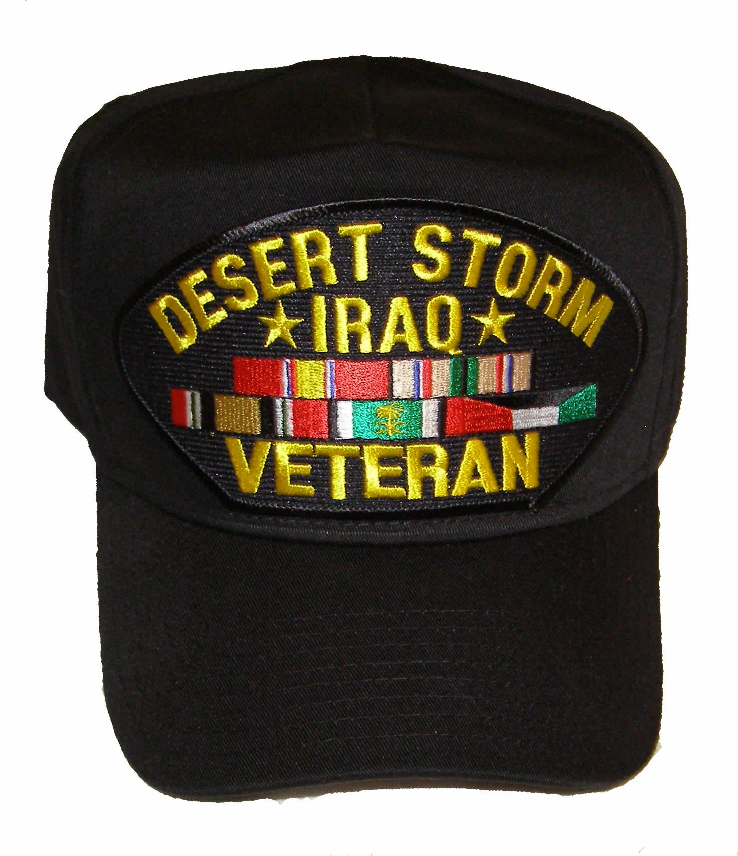 Desert Storm Iraq Veteran Hat with 5 Ribbons for ODS and OIF Veterans - Veteran Owned Business