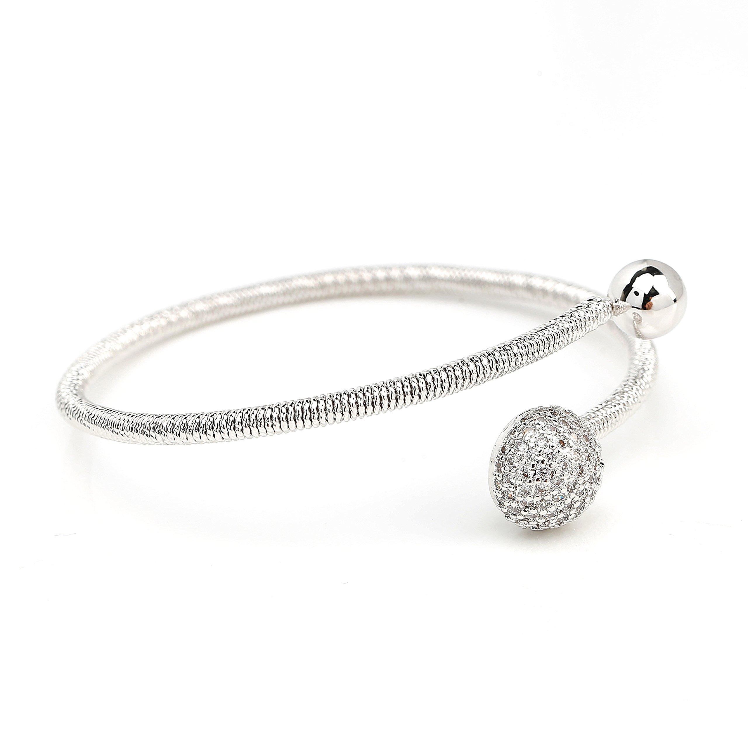 Stylish Designer Wrap Bangle Bracelet with Sparkling Swarovski Style Crystals