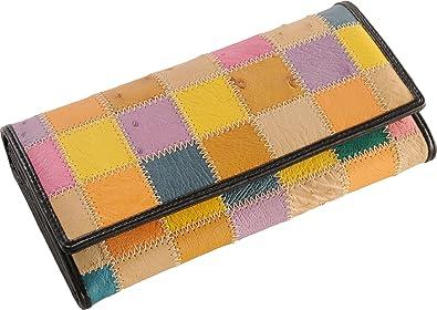 eacc862979df オーストリッチ 財布 レディース 長財布 マルチカラー パッチワーク デザイン : ライト系