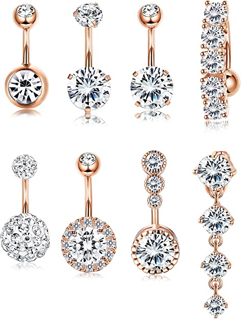 Details about  /12pcs 14G Stainless Steel Belly Button Rings Women Navel Barbell Body Jewelry