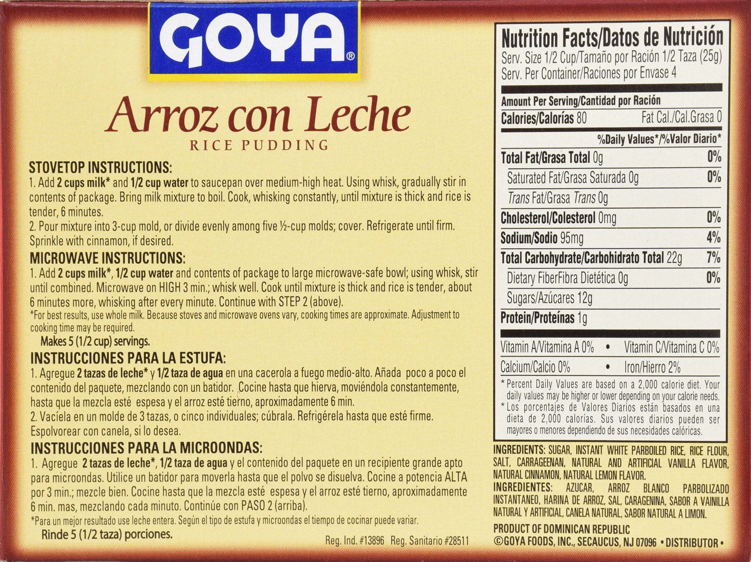 Amazon.com : Goya Foods Arroz Con Leche Rice Pudding, 4.25 Ounce (Pack of 36) : Grocery & Gourmet Food