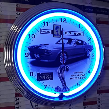 Neon reloj Neon Clock Eleanor Mustang Shelby G.T. 500 – Garage sign – Reloj pared iluminado