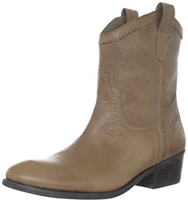 GUESS Womens Gennette Leather Almond Toe Ankle Cowboy Boots Taupe Size 5.0