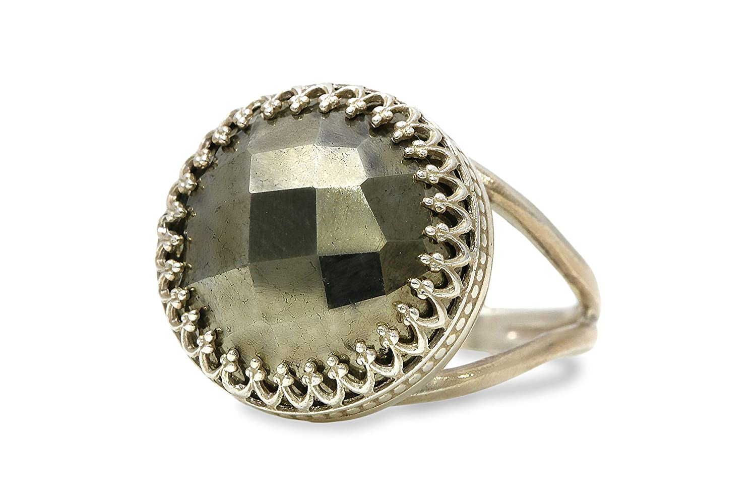Gift for Mom Sister Jewelry Box Included Anemone Jewelry Sterling Silver Rings Bff Statement Jewelry for Women Fashionable Large Pyrite Ring in Prong Setting