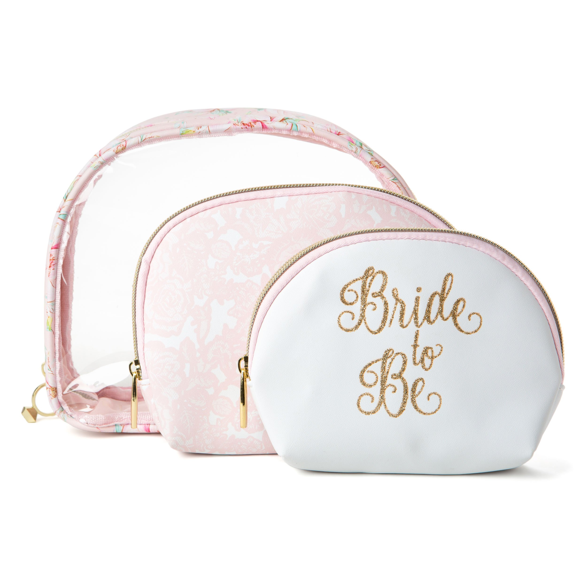 Tri-Coastal Design Bride to Be Cosmetic Makeup Bags: Compact Travel Toiletry Bag Set in Small, Medium and Large for Women and Girls