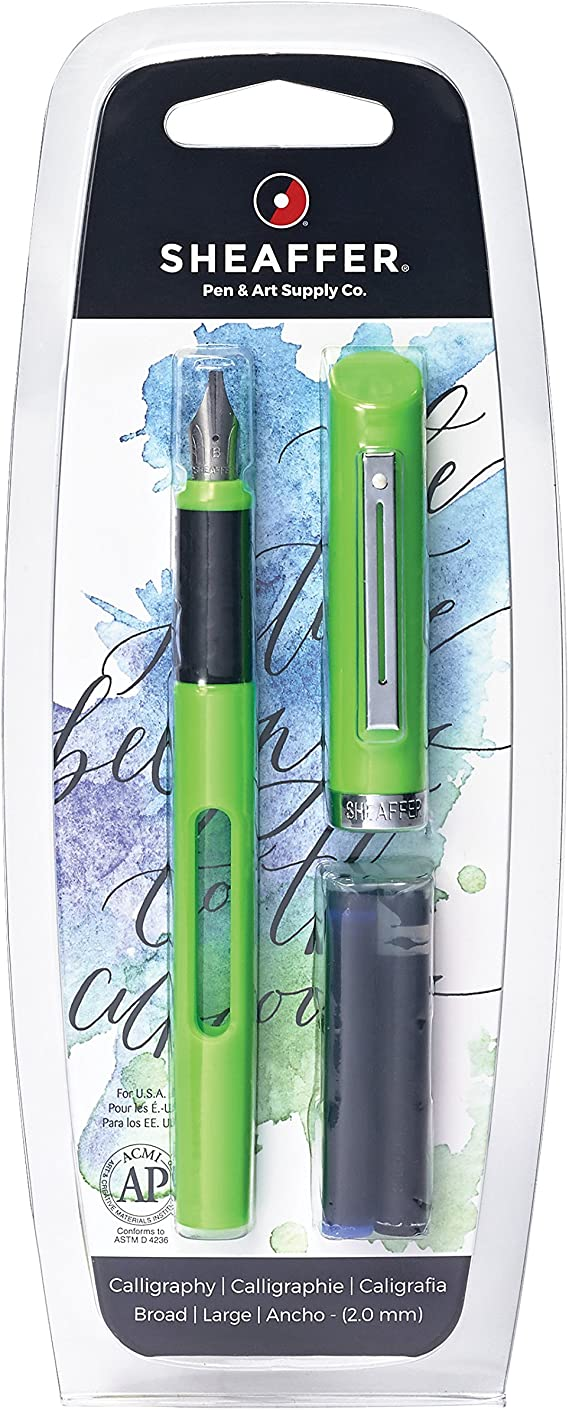 Sheaffer Viewpoint Calligraphy Fountain Pen with Broad Nib and 2 Ink Cartridges (1 Black & 1 Blue)