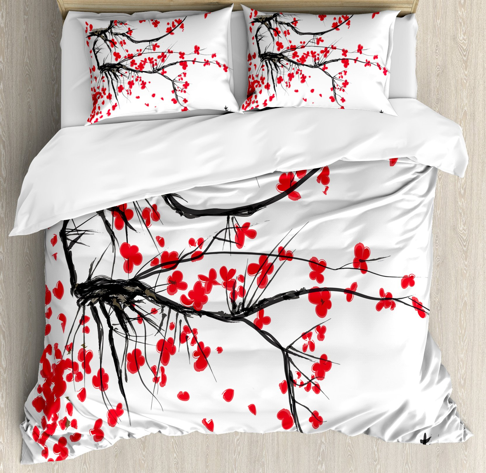 House Decor Duvet Cover Set by Ambesonne, Sakura Blossom Japanese Cherry Tree Summertime Vintage Cultural Artwork, 3 Piece Bedding Set with Pillow Shams, Queen / Full, Red Black