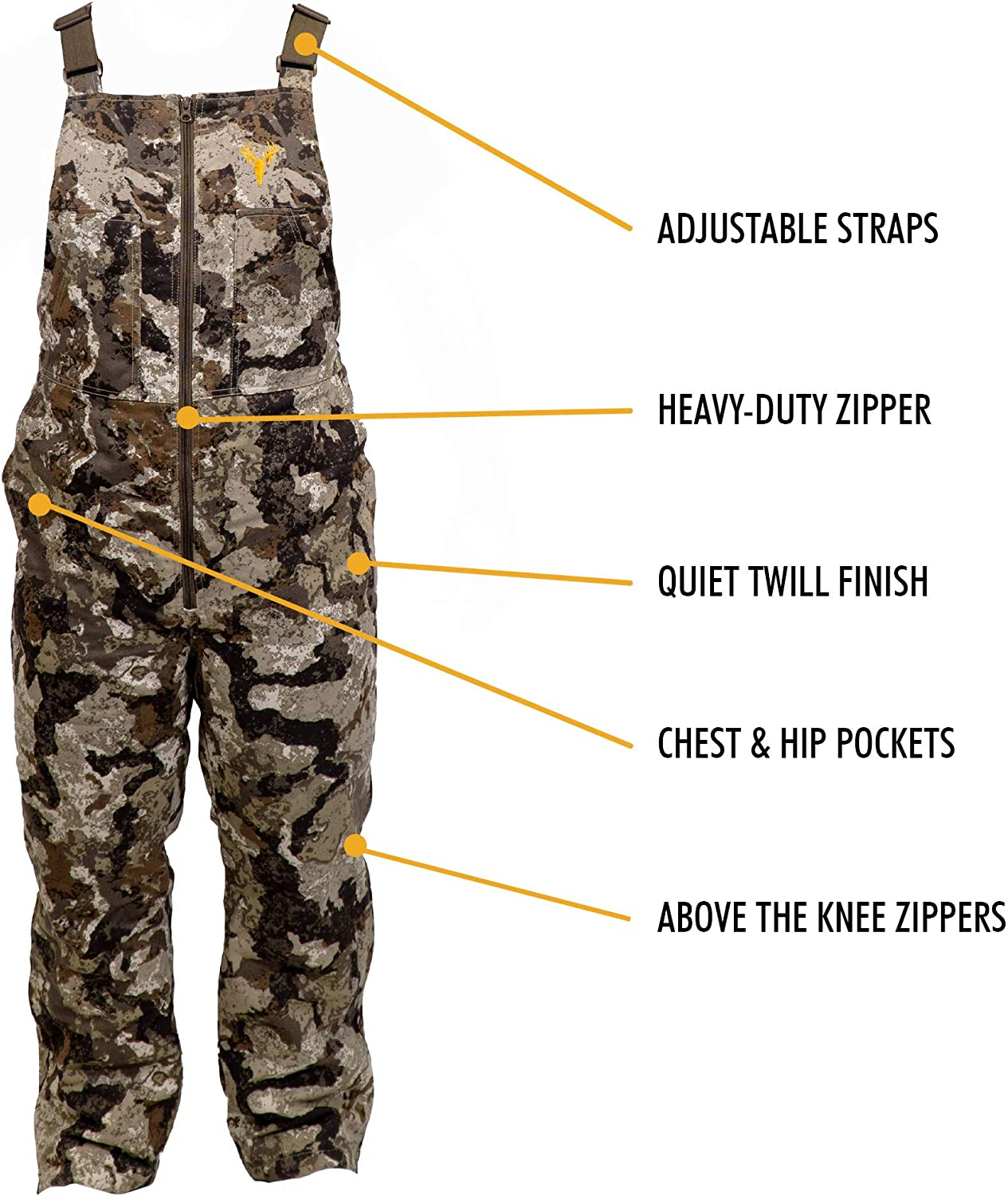 HOT SHOT Youth Insulated Camo Bib Adjustable Height Leg Zippers Designed for All Day Comfort