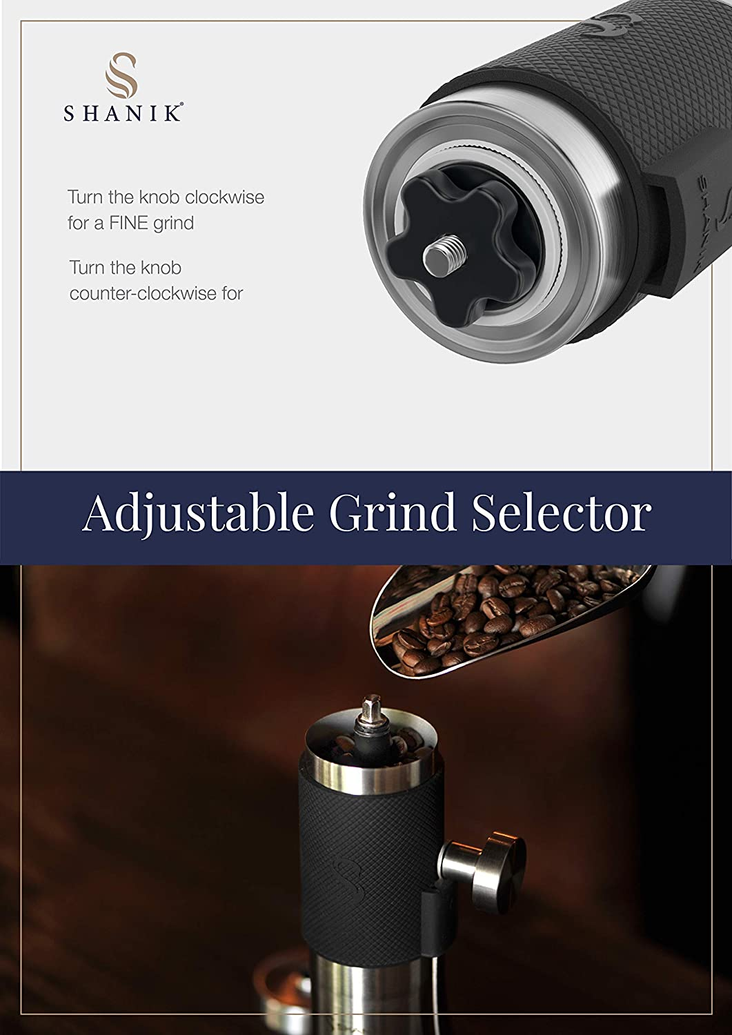 Premium Quality Stainless Steel Manual Coffee Grinder Portable Burr Coffee Grinder Conical Ceramic Burr for Precision Brewing Silicone Lid to Keep Coffee in Container Blue