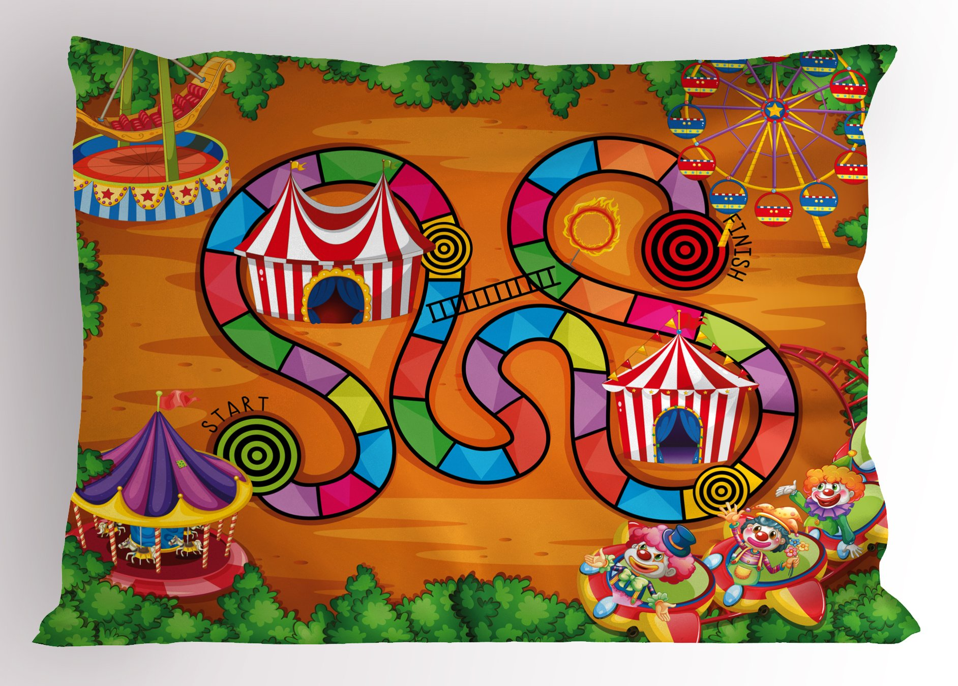 Lunarable Board Game Pillow Sham, Carnival in Town Circus Characters Tents Ferris Wheel Ride Route Curves Forest, Decorative Standard Size Printed Pillowcase, 26 X 20 inches, Multicolor