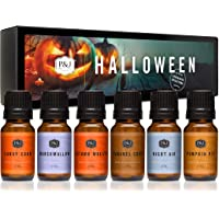 Juego de 6 aceites aromáticos de grado premium para Halloween, corona de otoño, pastel de calabaza, maíz de caramelo…