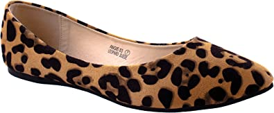 Bella Marie Shoes Women's Angie 53 Leopard Pointed Suede Flats in Different Colors and Design 8 D(M) US