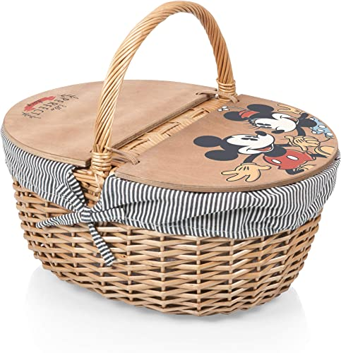 PICNIC TIME Disney Classics Mickey and Minnie Mouse Country Basket with Liner, Navy White Stripe