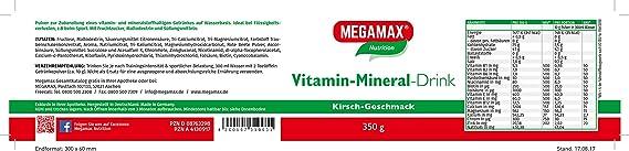 MEGAMAX - Vitamin Mineral Drink - Bebida deportiva isotónica en polvo con vitaminas y minerales - Balance electrolítico - Cereza - 350 g (10 L): Amazon.es: Salud y cuidado personal