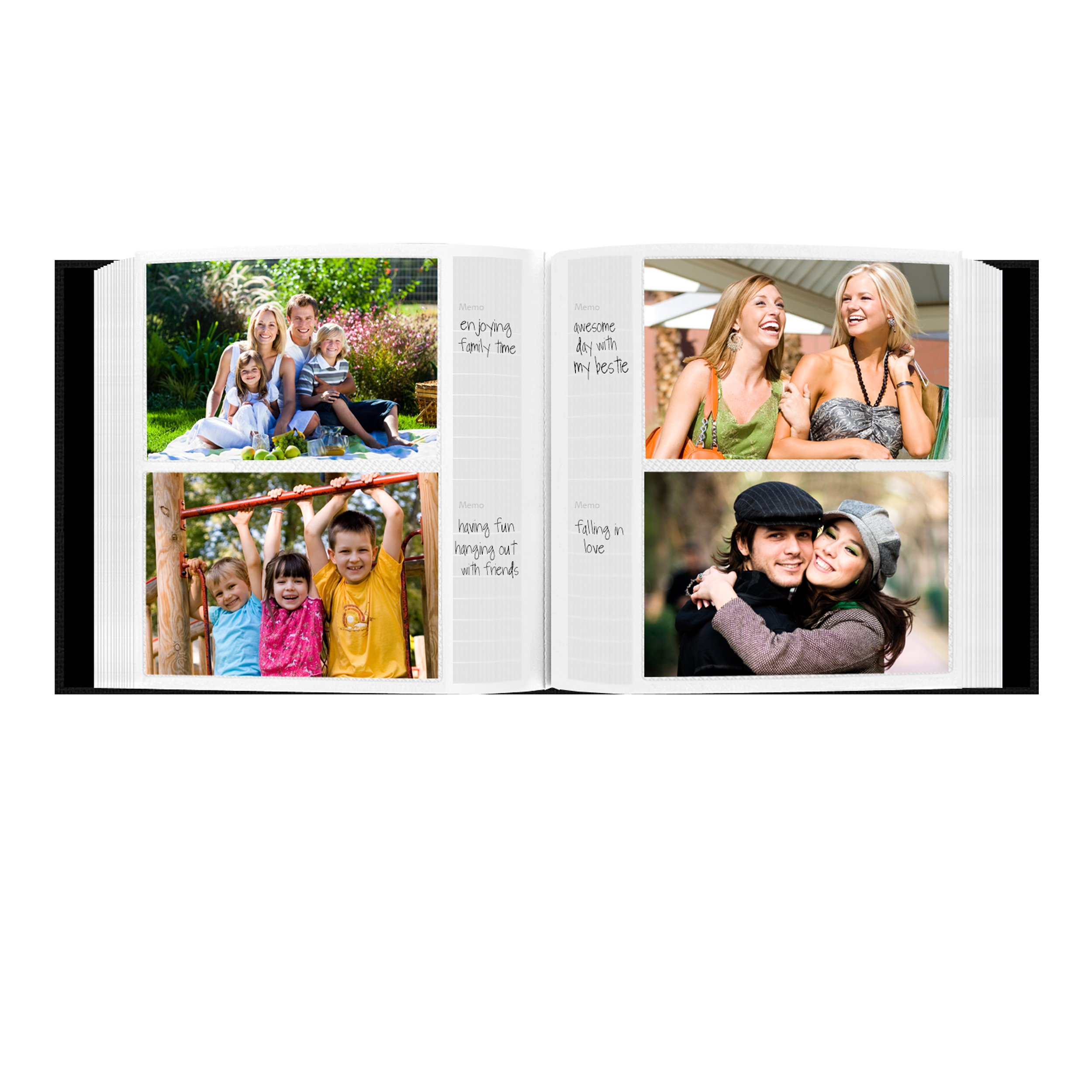 Fabric Frame Cover Photo Album 200 Pockets Hold 4x6 Photos, Deep Black by Pioneer Photo Albums (Image #4)