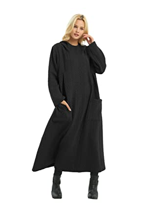 Anysize Hooded Sweater Maxi Cotton Loose Dress Spring Winter Plus