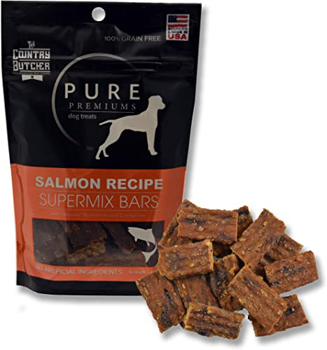 The Country Butcher Pure Premiums Natural Dog Treats, Made in USA, Choose from Organic Turkey, Salmon Pheasant, 4oz Bags, 3 Pack
