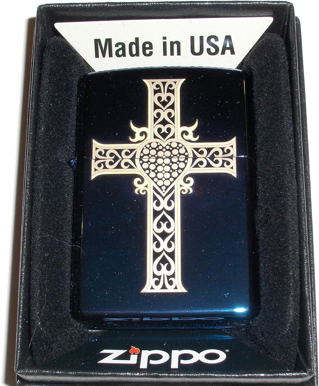 Zippo Lighter - Jewelry Heart & Cross Sapphire