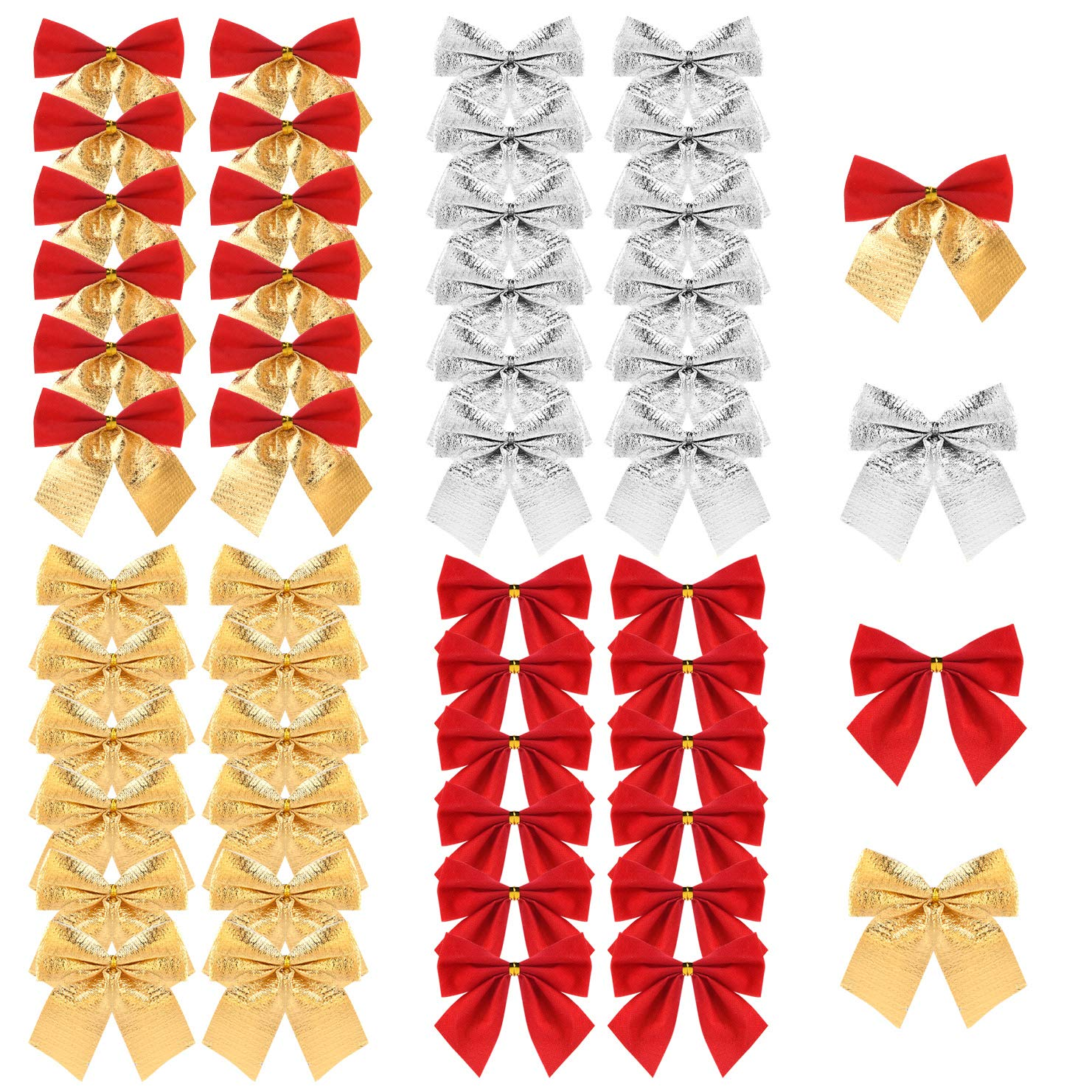 TUPARKA 48 Pieces Christmas Ribbon Bows Ornaments Xmas Tree Bowknot Decoration Presents Wrapping Craft Supplies(4 Colours)