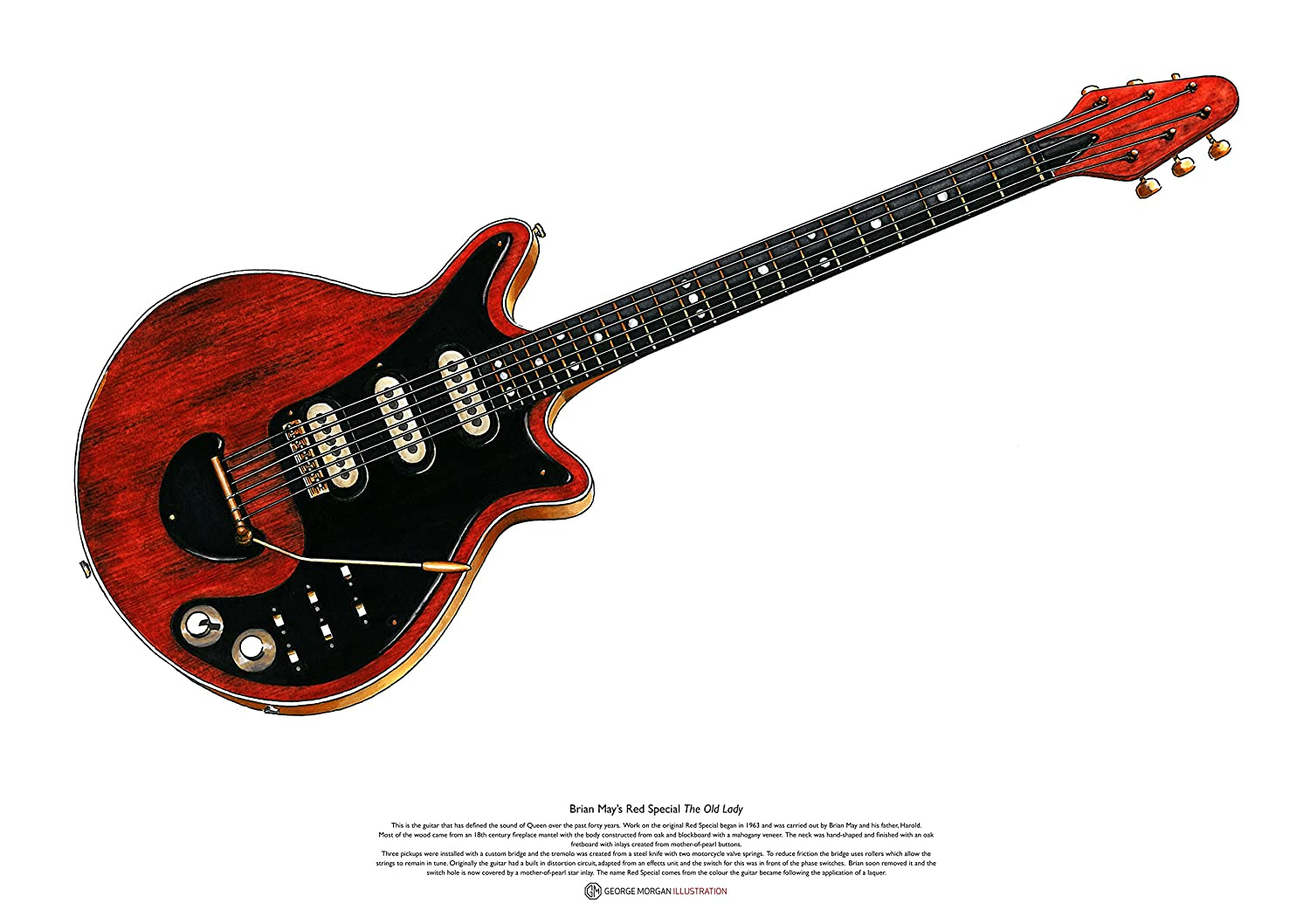 George Morgan Illustration Rojo Especial Guitarra de Brian May del ...
