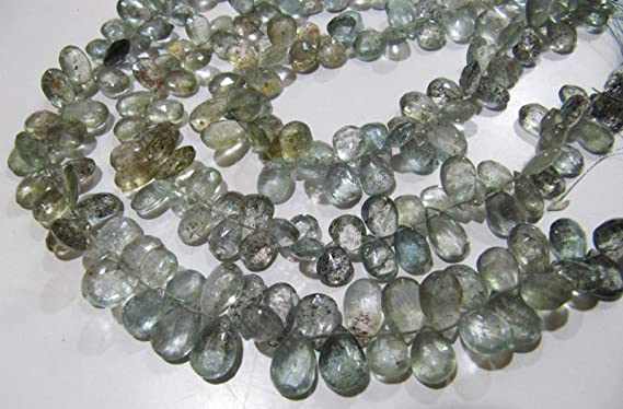 Super Rare Natural Gem Top Quality Moss Aquamarine Faceted Pear Shape Briolette Beads 10 Full Strand 6x4 to 9x6MM Size Beads Natural Beryl