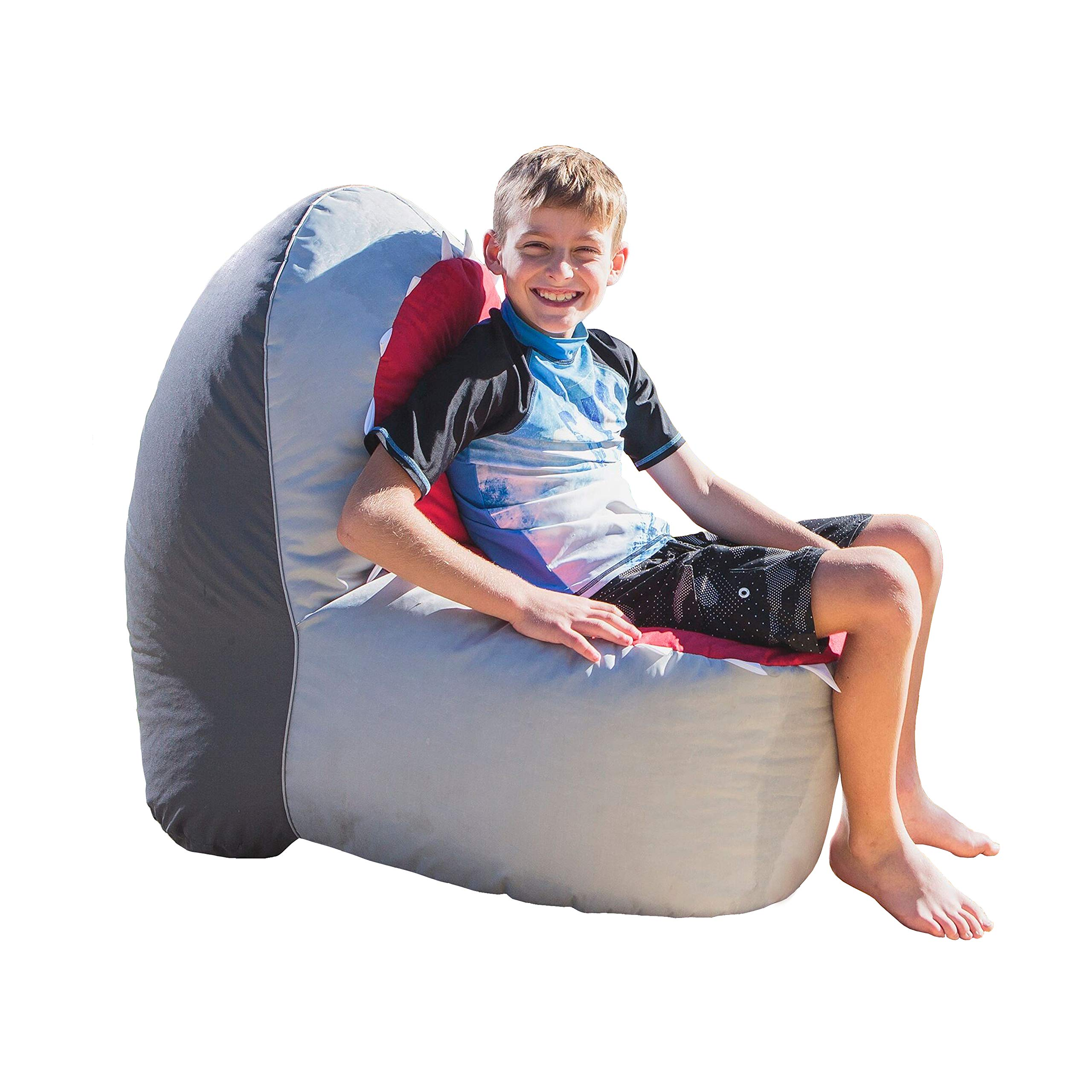 Rickety Rock  Bean Bag Chair Indoor Only Without Filling for Toys and Stuffed Animal Storage ,   Indoor Outdoor, Waterproof  Polyester, Shark,  XL by Rickety Rock