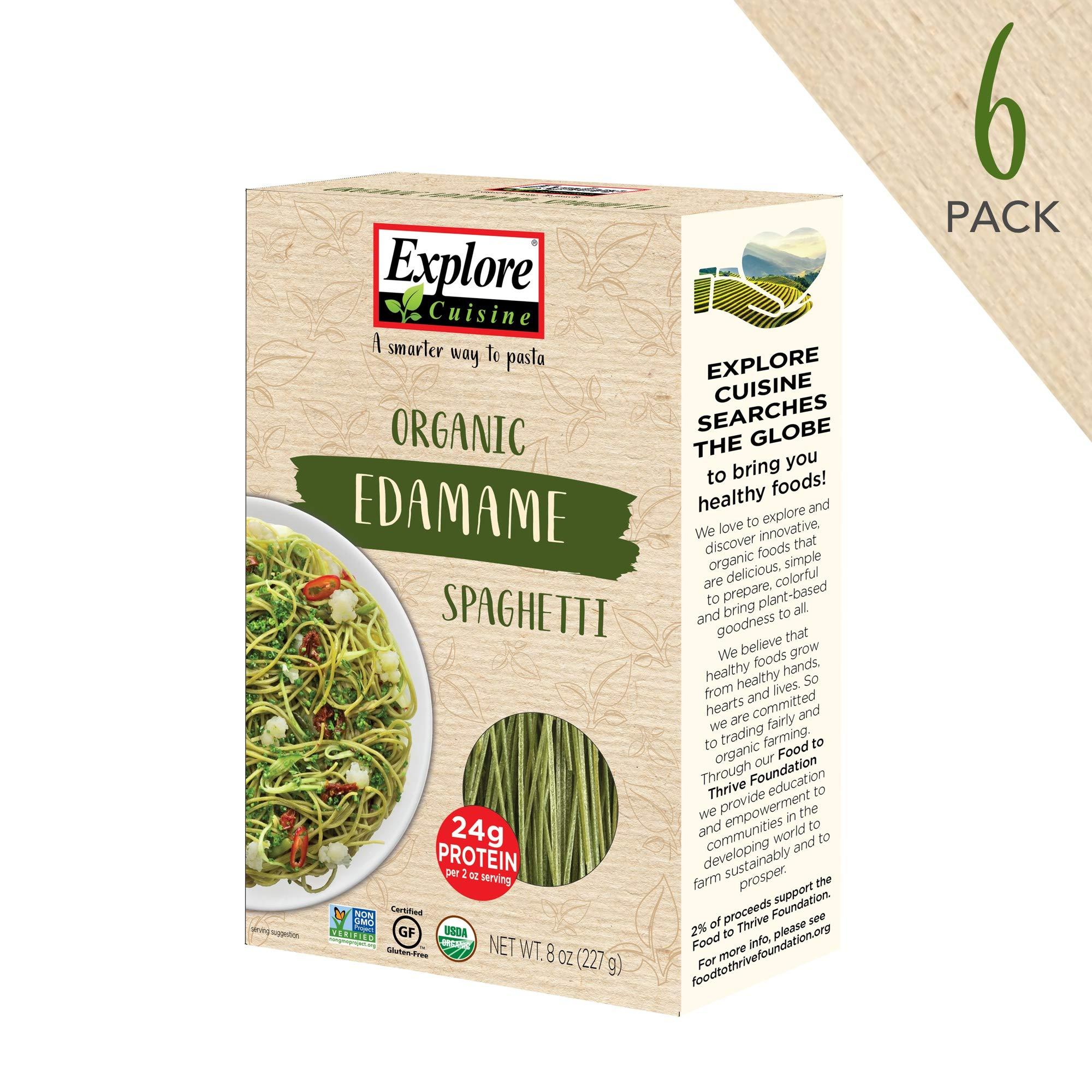 Explore Cuisine Organic Edamame Spaghetti (6 Pack) - 8 oz - High Protein, Gluten Free Pasta, Easy to Make - USDA Certified Organic, Vegan, Kosher, Non GMO - 24 Total Servings by EXPLORE CUISINE