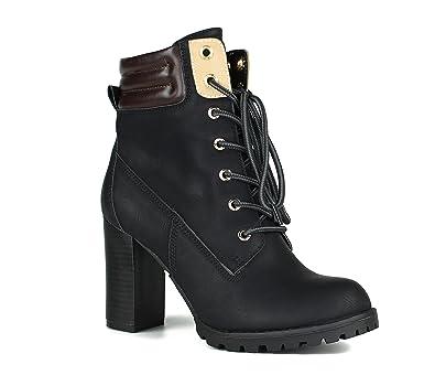 Damen Worker Boots   Stiefeletten High Heels   Blockabsatz Schuhe    Gefütterte Outdoor Booties   Schnürstiefeletten 33d257472f