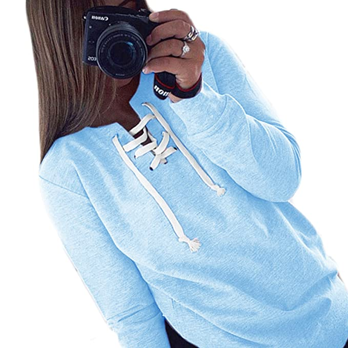 Mujer Otoño Nuevas V Cuello Corbata Moda Color Sólido Casual T-Shirt Blusa Crop Hoodie