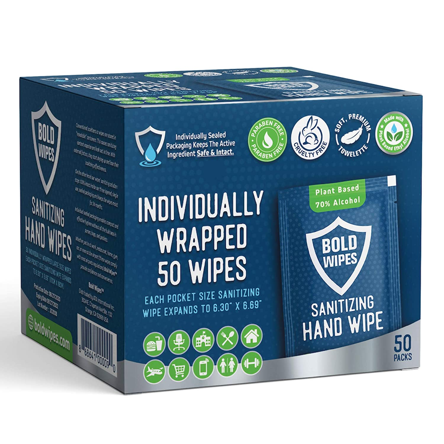 Bold Wipes LARGE Premium Hand Sanitizing Wipes Individually Wrapped Antibacterial Hand Sanitizer Wipes Large Size for Gym, Travel, Home, Exercise, Office and Outdoor Use
