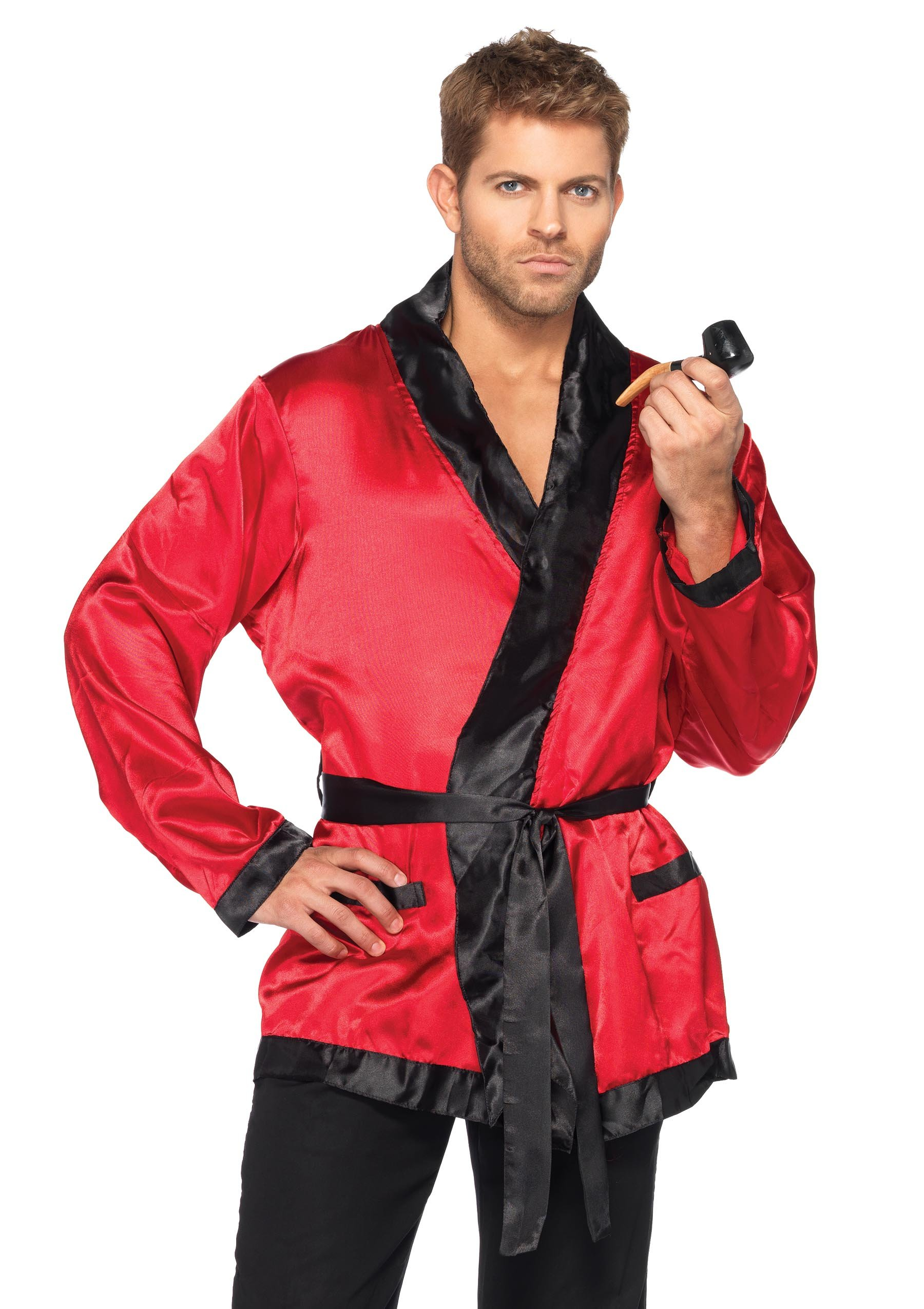 Leg Avenue Men's 2 Piece Bachelor Cigarette Smoke Jacket And Pipe Costume, Red/Black, One Size