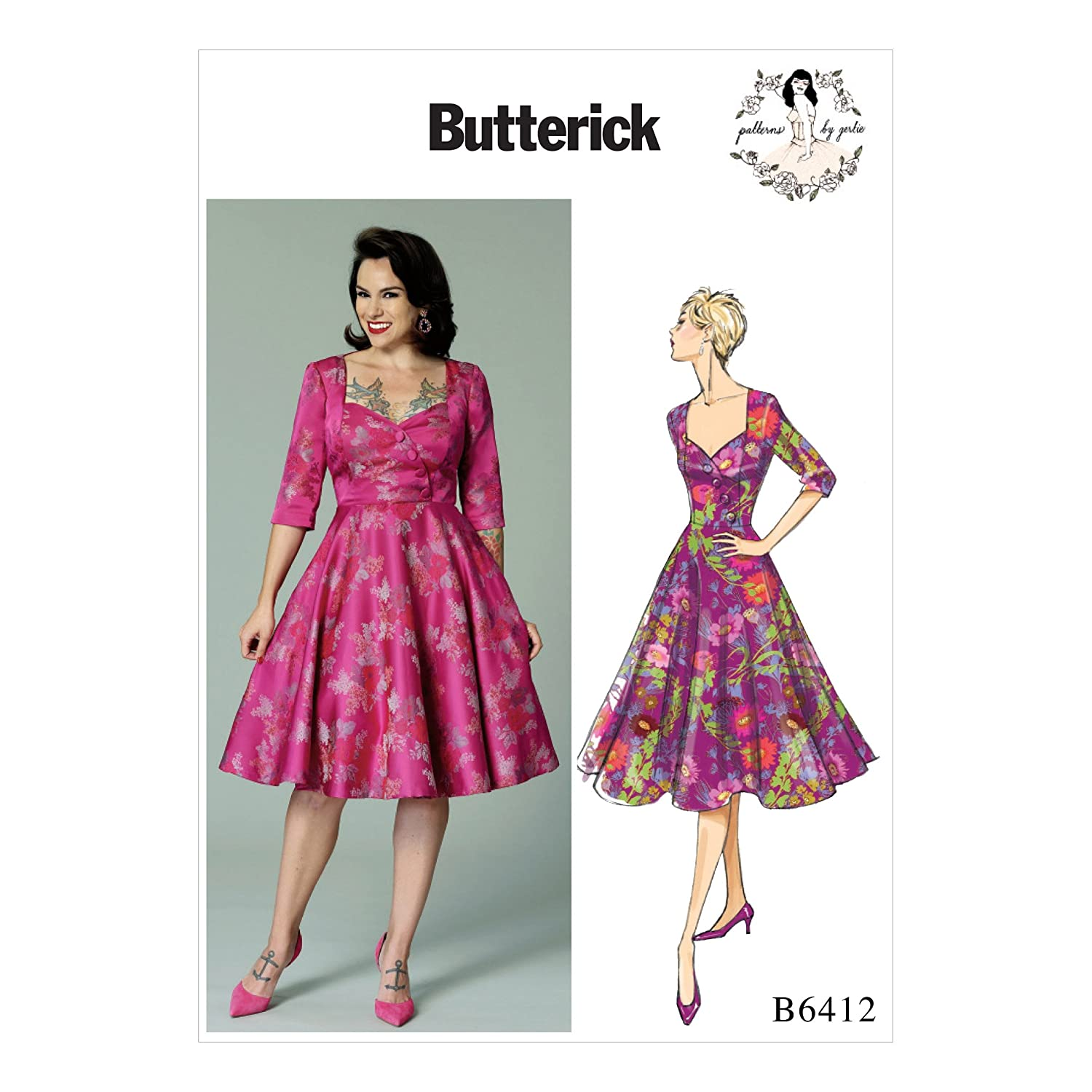 1950s Sewing Patterns | Swing and Wiggle Dresses, Skirts Butterick B6412 A5 Misses Sweetheart-Neckline Full-Skirted Dress Pattern by Gertie With Button Yoke Size 6-8-10-12-14 $13.41 AT vintagedancer.com