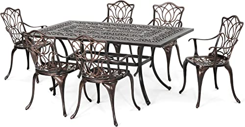 Christopher Knight Home Barbara Outdoor 6-Seater Cast Aluminum Rectangular-Table Dining Set