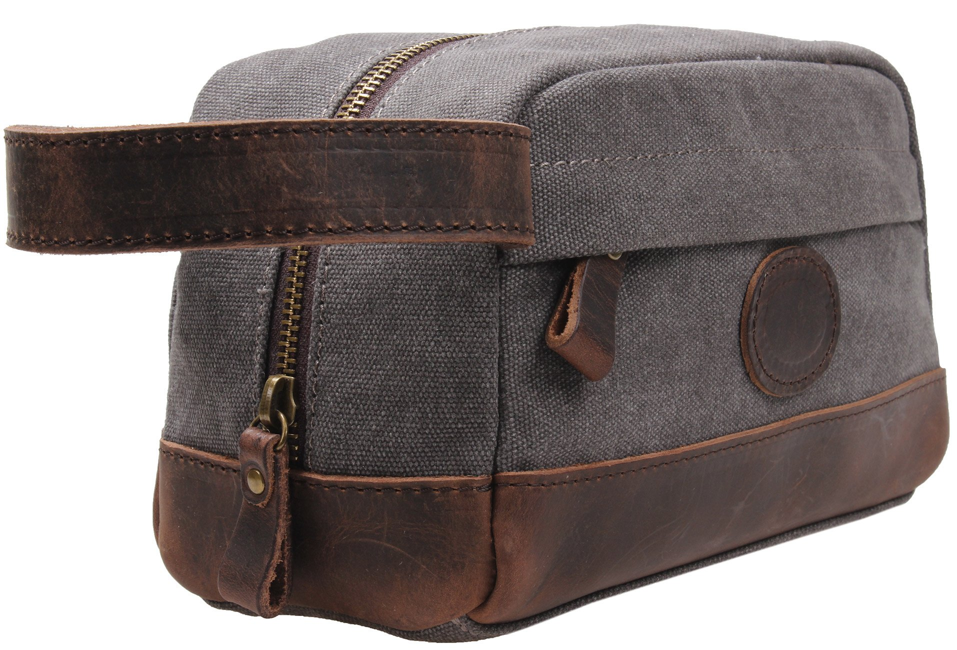 MSG Vintage Leather Canvas Travel Toiletry Bag Shaving Dopp Kit #A001 (Grey)